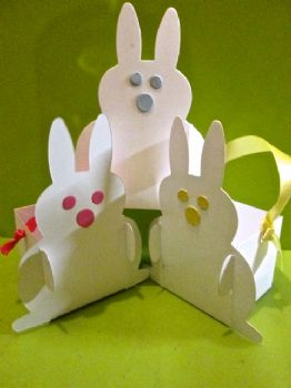 Bunny Rabbit white Favour Box Card Perfect for Easter Gifts and Eggs